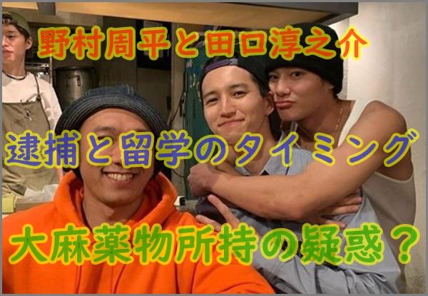 田口淳之介逮捕で野村周平にも大麻薬物疑惑?渋谷やクラブで遊び人と噂も!