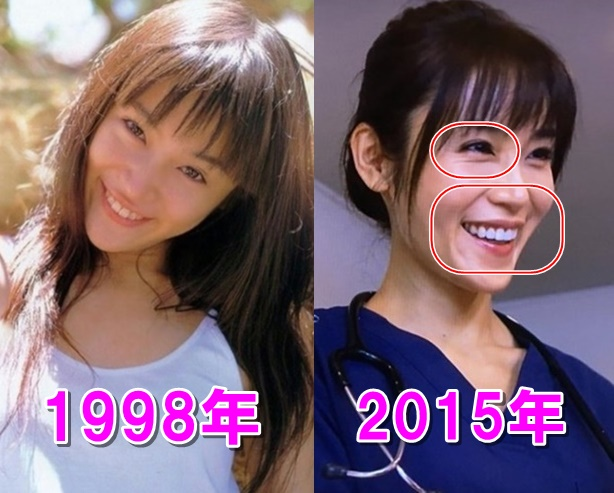 比較画像、山口紗弥加は若い頃より老けた。顔が痩せすぎ。